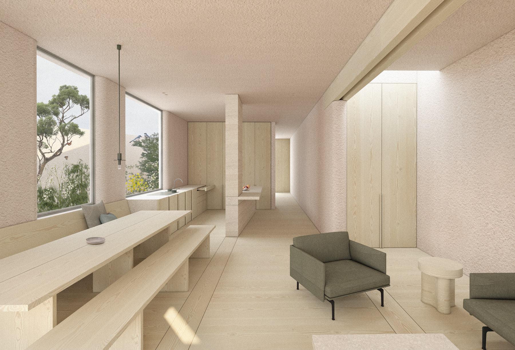 architect designed london passivhaus - view to kitchen