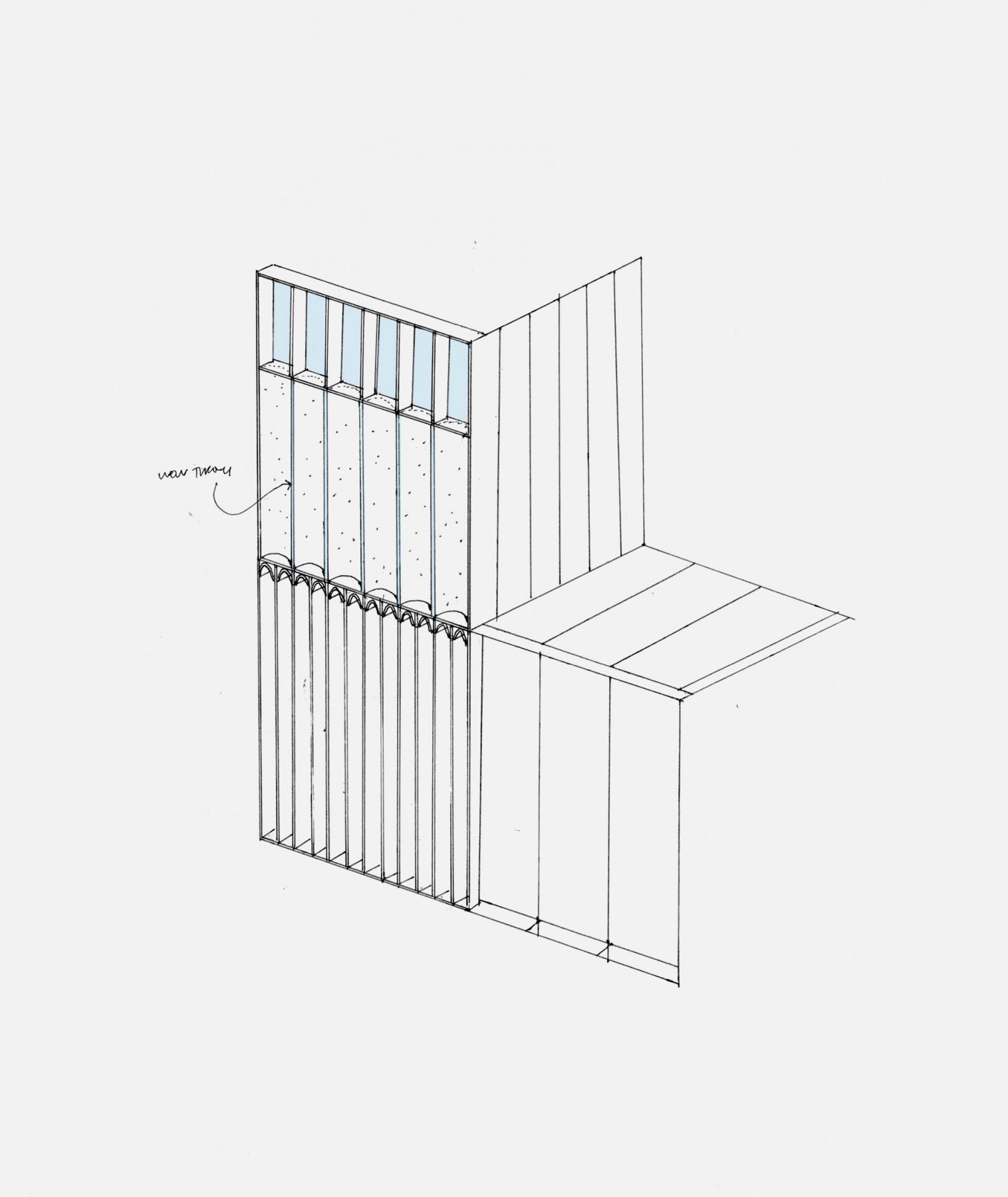 Barnsbury house extension in corten, sketch