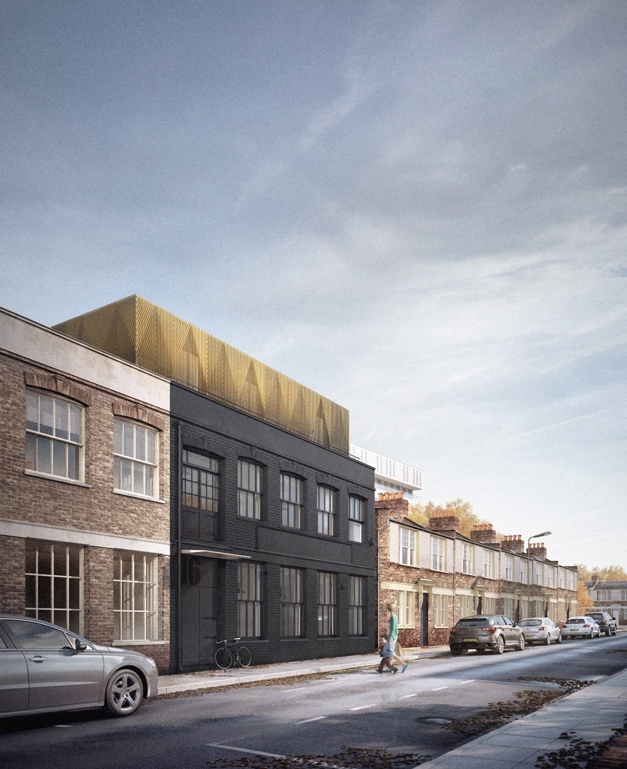 Hackney housing: warehouse with architect designed roof extension in brass