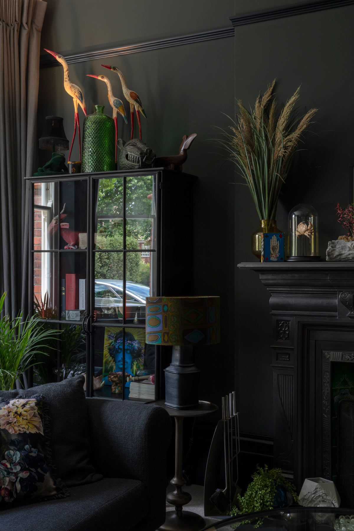 black interior paint - Queens Park house