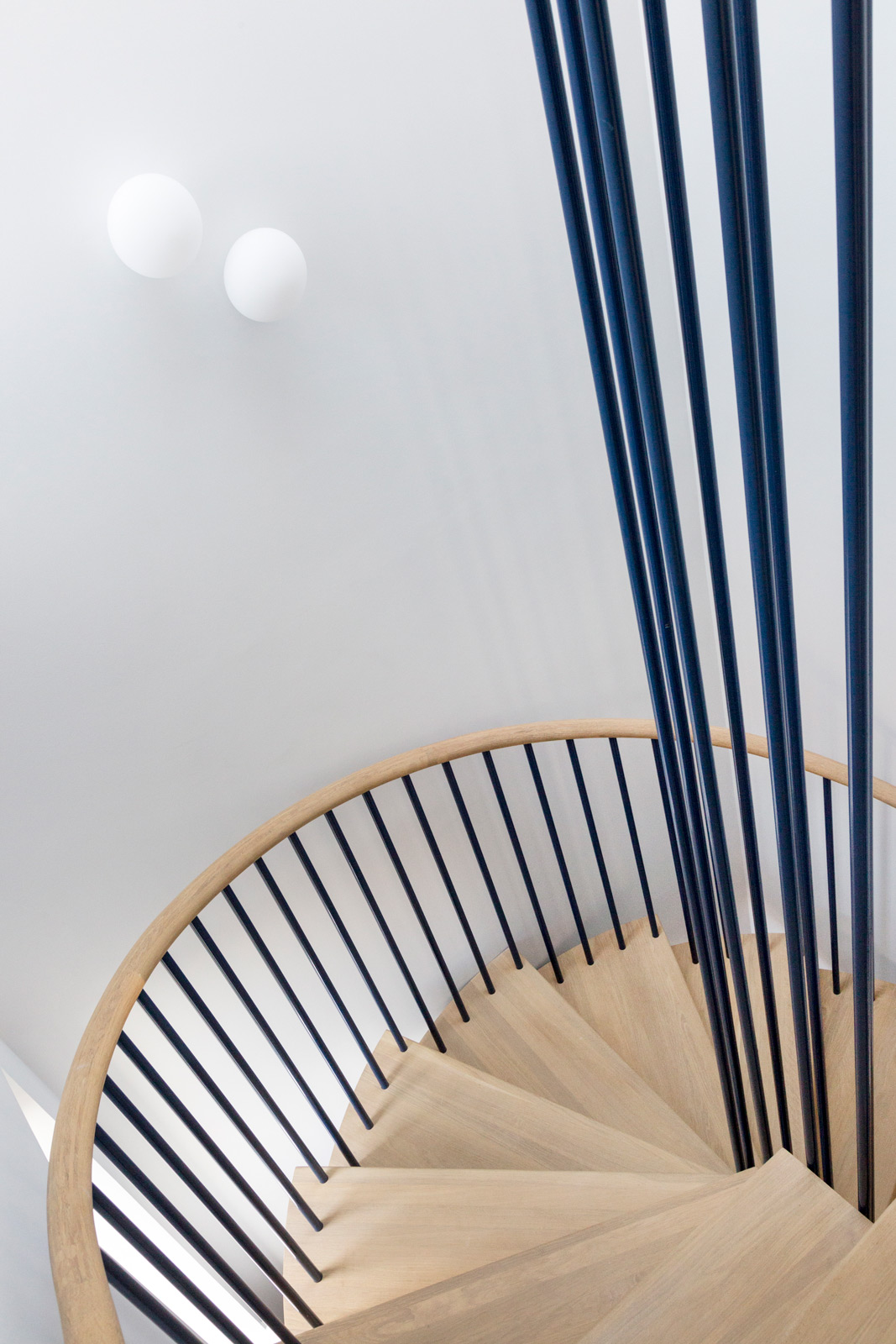 Architect designed steel oak stair, Holland Park
