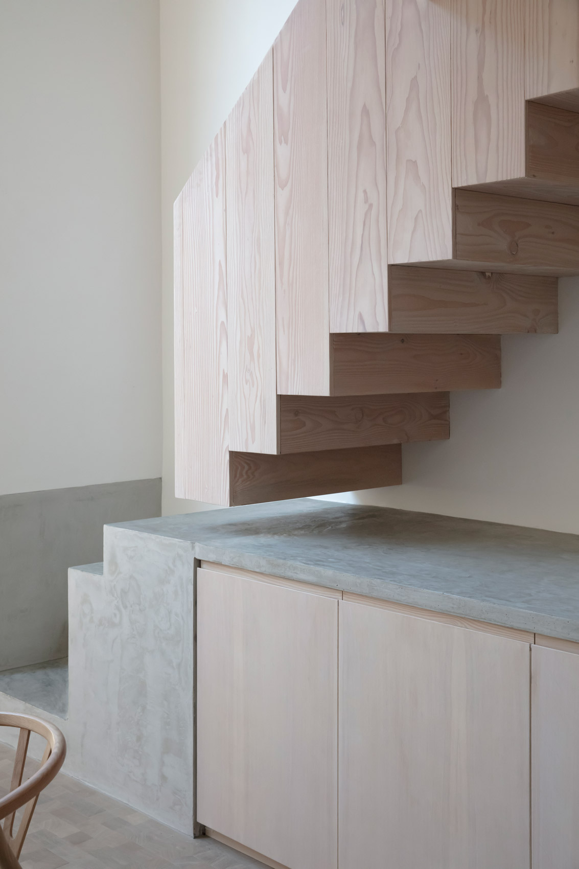 timber stair london house concrete