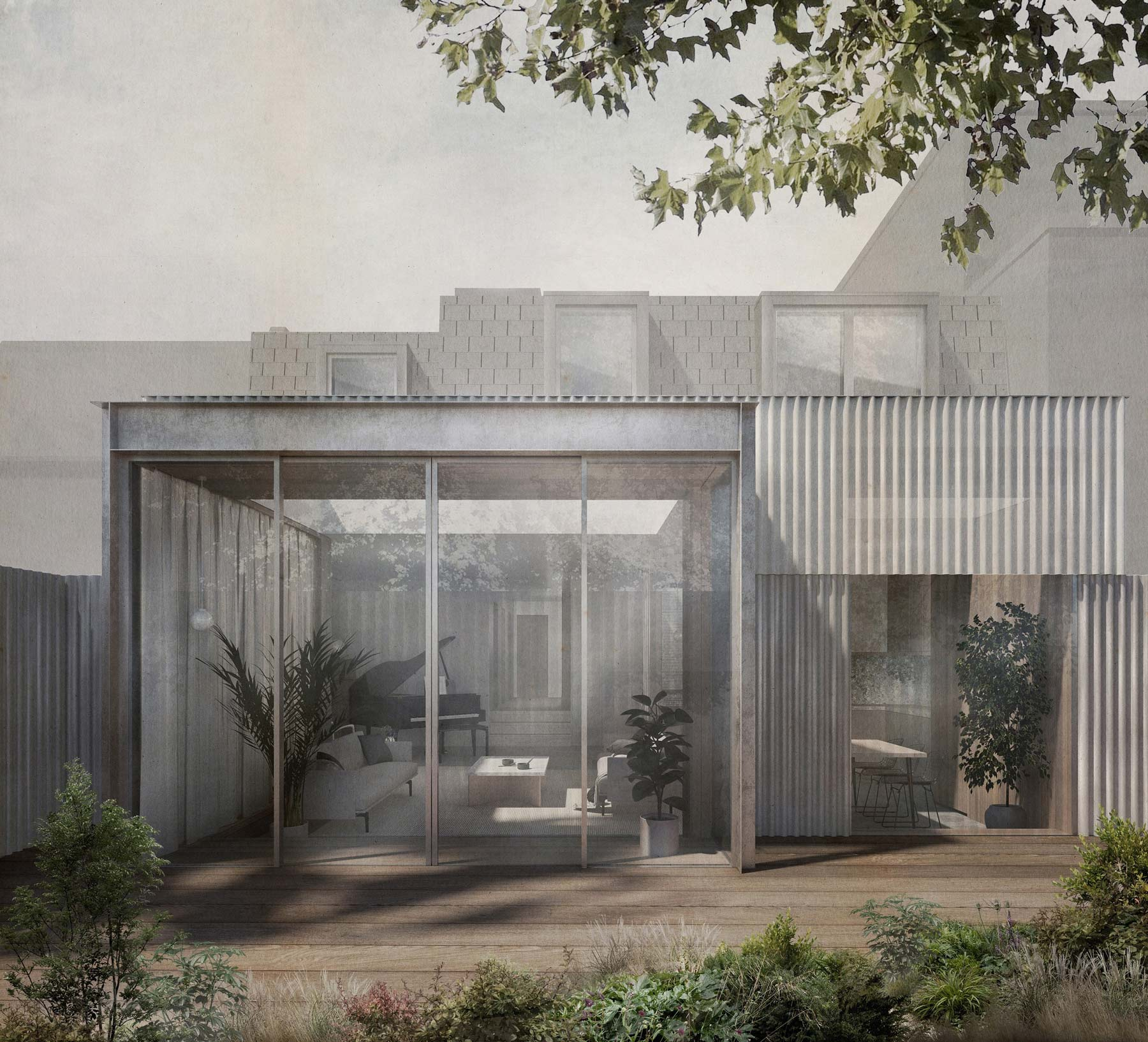 Architect extension corrugated metal